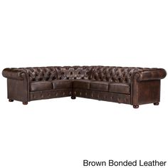 Knightsbridge Tufted Scroll Arm Chesterfield L-shaped Sectional by iNSPIRE Q Artisan (Brown Bonded Leather) Fabric Sectional, Leather Sectional Sofas, Couches, Tufted Sofa, Black Sectional, Leather Chesterfield, Bonded Leather, L Shape, Fashion Room