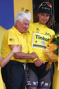 #TDF2016 Yellow jersey race leader Peter Sagan of Slovakia and Tinkoff alongside ex professional rider Raymond Poulidor at the presentation ceremony during...