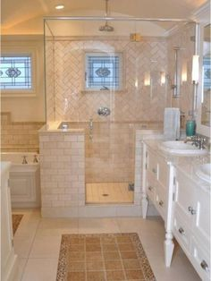 If you are looking for Tile Rug Inlay Bathroom Decor Ideas, You come to the right place. Below are the Tile Rug Inlay Bathroom Decor Ideas. This post a. Bathroom Design Layout, Best Bathroom Designs, Bathroom Design Small, Shower Designs, Ideal Bathrooms, Modern Master Bathroom, Beautiful Bathrooms, Beige Bathroom, Chic Bathrooms