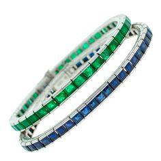 Art Deco Emerald Sapphire & Platinum Tennis Bracelet Duo | From a unique collection of vintage tennis bracelets at http://www.1stdibs.com/bracelets/tennis-bracelets/