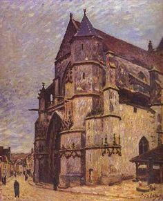 Sisley, Alfred - The Church at Moret, Winter - Impressionism - Architecture - Oil on canvas