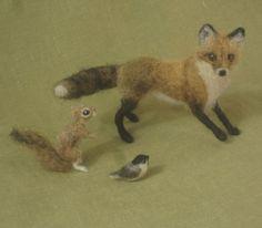 Miniature chickadee needle felted dollhouse bird 1:12 scale teeny tiny. $15.00, via Etsy.