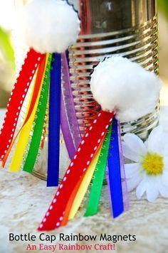 Easy Rainbow Craft: Bottle Cap Rainbow Magnets Want an easy rainb. Easy Rainbow Craft: Bottle Cap Rainbow Magnets Want an easy rainbow craft to celebrate spring? Rainbow Activities, Rainbow Crafts, Craft Activities, Preschool Ideas, Hat Crafts, Diy And Crafts, Kids Crafts, Creative Crafts, Cabin Crafts