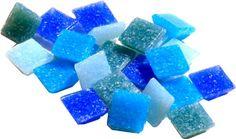Jennifers Mosaics 8-Ounce Light Medium Blue 3//4-Inch Venetian Style Glass Mosaic Tile Turquoise