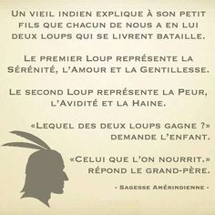 Nourrit le bon loup et ta vie sera belle. Words Quotes, Life Quotes, Sayings, Quote Citation, Thing 1, French Quotes, Visual Statements, Morals, Some Words