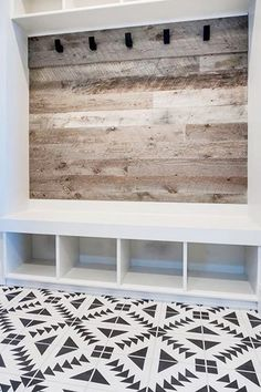 Great idea for mudroom or back entry -Modern Farmhouse Style Decorating Ideas On A Budget House Design, House, Home Projects, Interior, Home, Home Remodeling, Mudroom Design, New Homes, Home Renovation