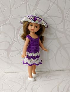 Clothes for mini dolls Paola Reina, doll 8,27 inch/21cm crochet dress for doll clothing Barbie Clothes, Barbie Dolls, Doll Shop, Dress With Cardigan, Handmade Dresses, Crochet Cardigan, Dress Making, Summer Dresses, Purple