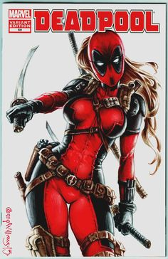 Lady Deadpool variant cover by PlanetDarkOne on DeviantArt Lady Deadpool, Deadpool Kawaii, Deadpool Comic Book, Deadpool Art, Female Deadpool, Female Avengers, Marvel Women, Marvel Girls, Comics Girls