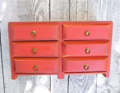 RUSTIC RED Jewelry Box  Shabby Chic Upcycled by HuckleberryVntg, $49.00