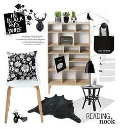 """black & white reading space"" by jesuisunlapin ❤ liked on Polyvore featuring interior, interiors, interior design, home, home decor, interior decorating, Bloomingville, Chanel, ferm LIVING and Yerra"