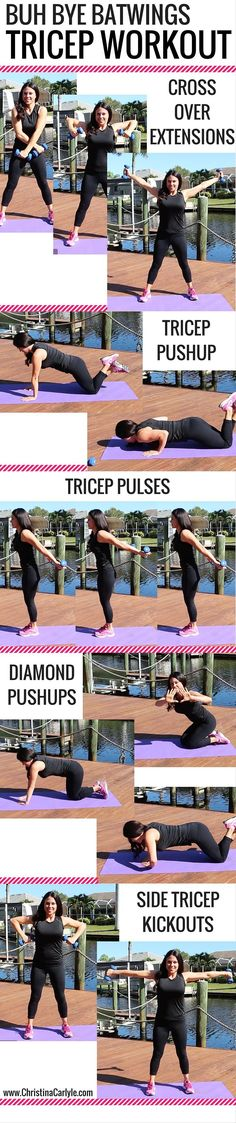 Workout Plans : Tricep Exercises for Women. - All Fitness Fitness Workouts, Fitness Motivation, At Home Workouts, Arm Workouts, Upper Body Workouts, Barre Arm Workout, Upper Body Workout For Women, Kickboxing Workout, Exercise Motivation