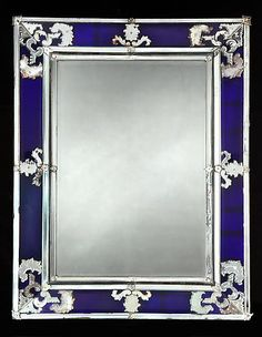 Venetian Clear & Cobalt Blue Glass Mirror, Italy, Nineteenth century