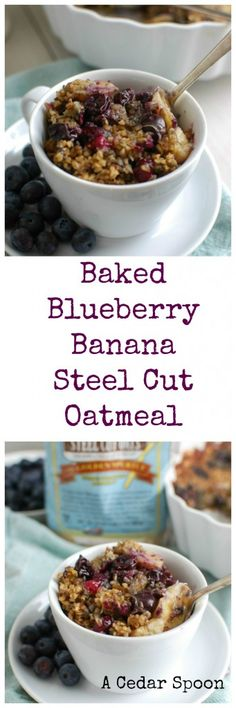 Baked Blueberry Banana Steel Cut Oatmeal is a healthy, hearty breakfast or snack that the whole family will love. Warm blueberries and bananas are mixed with steel cut oatmeal, cinnamon and vanilla protein powder to create a satisfying, delicious meal. // A Cedar Spoon
