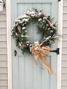 Pretty snow covered wreath on a blue shed door | Finding Silver Pennies #homedecor #christmasinspiration #hometour #newengland #coastal #christmasideas #interiordesign #snow #winter Cabin Christmas, Whimsical Christmas, Elegant Christmas, Simple Christmas, All Things Christmas, Christmas Time, Christmas Wreaths, Christmas Decorations, Holiday Decor