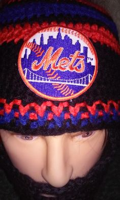 NEW YORK METS Bearded Beanie,Any  Size ,Any Color, Customize Ny Mets Beanie,  Mets Patch is Embroidered,Vecro on Beard 4Perfect Fit by DwedgeCreations on Etsy