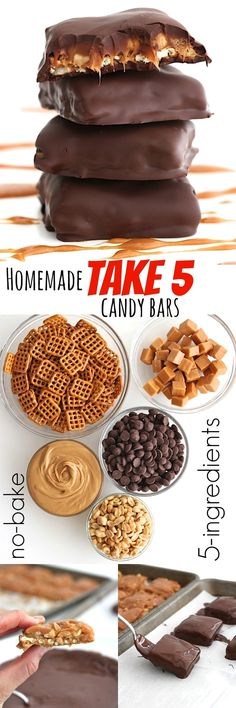 Homemade Take 5 Candy Bars just 5-ingredients & no-bakeuse gluten free pretzels to make gluten free.