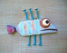 Blue Anchovy, Fish Wall Art, Original Found Object Wall Sculpture, Wood Carving, Marine Art, Folk Art, by Fig Jam Studio