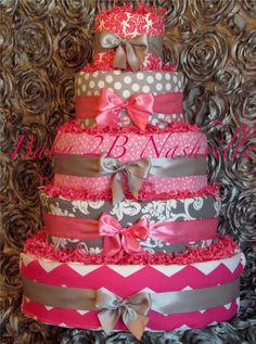 Diaper Cake for Girls  Pink and Silver Chevron Diaper Cake  5 Tier Baby Shower Diaper Cake Centerpiece on Etsy, $275.00