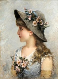 """""""Portrait of a Young Girl"""" (1885) by Emile Eisman-Semenowsky (1857-1911)."""