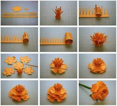 Bits of Paper: More 3D Paper Flowers! assembly instructions for silhouette flowers