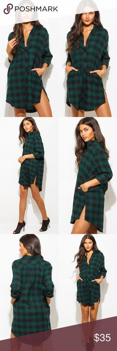 Hunter Green Long Plaid Dress Brand new. No trades. Offers welcomed Tops Button Down Shirts
