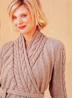 Wrapped Cable Cardigan by Vogue Patterns - Free Knitting Pattern