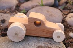 Tan Wood Car by CreatedbyBabs on Etsy