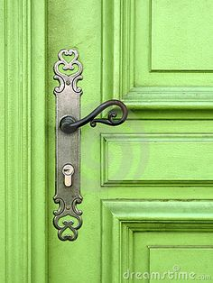 Gorgeous combination, lime green and brass door