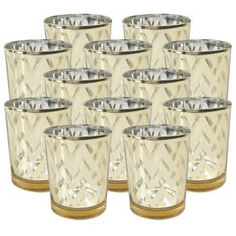 12 pcs, Kelly Green Just Artifacts 2.75-Inch Speckled Mercury Glass Votive Candle Holders