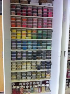 "{Now this is a ""LOT"" of Sprinkles.l love the way the colors almost match a rainbow. This organizational idea came from Cupcakes Take The Cake} Baking Storage, Baking Organization, Cake Storage, Bakery Decor, Bakery Interior, Bakery Design, Bakery Ideas, Bakery Kitchen, Home Bakery"