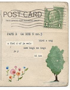 art journal inspiration - watercolored vintage postcards from UK artist Lily Moon