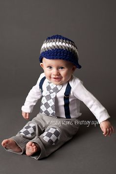 Navy and Grey Argyle Baby Boy Tie Bodysuit with by shopantsypants