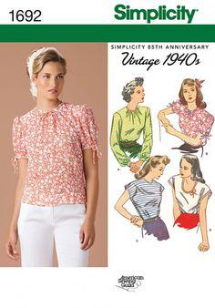 Simplicity - 1692 patroon Vintage top in verschillende variaties | Naaipatronen.nl | zelfmaakmode patroon online