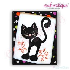 Curly Cat Applique by Embroitique on Etsy, $2.99