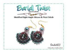 Right Angle Weave Earrings Beading Tutorial BARIDI TWIST by Studio183 on Etsy https://www.etsy.com/listing/70956495/right-angle-weave-earrings-beading