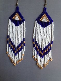 Beautiful seed bead earrings made with clear dark by ClaraJBeads, $18.00