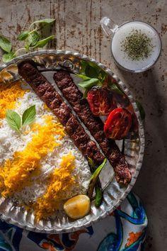 Kebab koobideh & Doogh – Ground beef & sour yogurt drink Traditional persian food Iranian food Traditional food from Iran food from recipes Iranian Cuisine, Iranian Dishes, Taiwanese Cuisine, Iran Food, Arabic Food, Arabic Dessert, Arabic Sweets, Eastern Cuisine, Sorbets