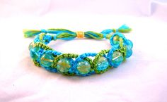 Hippy Boho Chic Small Intertwined Turquoise & Spring Green Micro Macrame Friendship Bracelet by HeartMesaGifts
