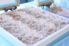 Starfish Place Cards in Sand Box Coastal Wedding Wedding Reception, Wedding Day, Seating Charts, Happily Ever After, Starfish, Sweet 16, Tablescapes, Wedding Details, Wedding Colors