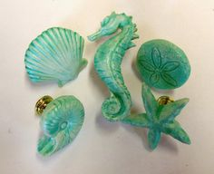 Drawer Pulls Knobs Seashells Starfish Seahorse Sand Dollar Nautilus Nautical Surf Washed Green Beach Set of 5    Handmade of Polymer clay and hand