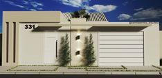 Fachada de fácil execução e baixo custo. House Front, My House, Gate Wall Design, 2 Bedroom House Plans, Best Modern House Design, Boundary Walls, Entrance Gates, Exterior Design, Facade