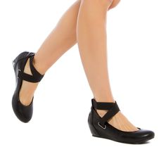 Margie - ShoeDazzle. With a hidden wedge and crisscrossing elastic straps, this sporty flat is unexpectedly cool.