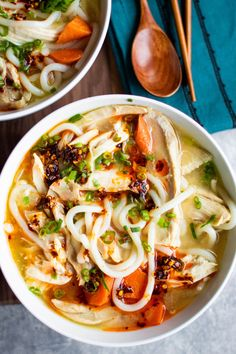 Udon Soup with Miso Ginger Chicken The best soup for when a cold hits! Lots of fresh ginger and chili oil clears anything ailing you right up! Dutch Oven Chicken, Oven Chicken Recipes, Soup Recipes, Noodle Recipes, Family Recipes, Udon Soup Recipe, Miso Recipe, Dinner Recipes, Chicken