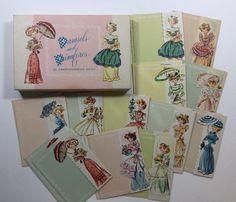 Vintage Lot 23 Unused Pretty Little Parasol Ladies Greeting Cards Box (bx1702)