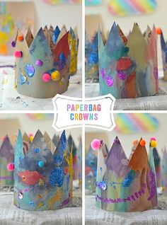 Paper Bag Crowns - ARTBAR Make these beautiful crowns from recycled paper bags, watercolor paints, glitter and pom-poms. Fairy Tale Crafts, Fairy Tale Theme, Fairy Tale Activities, Art Activities, Paper Bag Crafts, Paper Bags, Paper Craft, Kids Crafts, Fairy Tales Unit