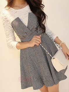 Ericdress Houndstooth Lace Patchwork Casual Dress Casual Dresses