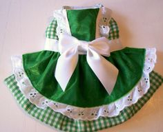 Gingham & Lace Dog Harness Dress by mypupstuff on Etsy, $30.00