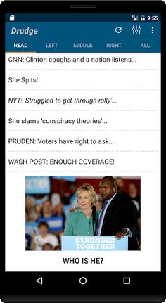 Drudge Report  v8.17.0 [Unlocked]   Drudge Report  v8.17.0 [Unlocked]Requirements:4.1Overview:Drudge App - Read all hot stories at ease on your awesome Android mobile and tablet devices.  Columns are separated into tabs and pages are optimized for mobile experience. Tweet and Share news stories by email. Should you want to view the actual sourced page simply click the story headline to view its as published form Loads fast light easyand it's FREE. Go Get it. Please write review even if you…