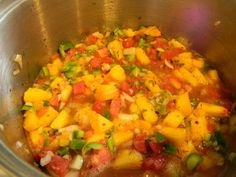 Though I had shared a peach salsa recipe back in 2011 , for the last few years I& been making this recipe. We like this version better sin. Peach Salsa Recipe For Canning, Salsa Canning Recipes, Peach Salsa Recipes, Best Salsa Recipe, Tomato Salsa Recipe, Fresh Tomato Recipes, Relish Recipes, Honey Recipes, Real Food Recipes