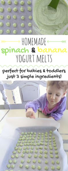 These homemade baby yogurt melts are made with 3 simple ingredients. These healthy and delicious yogurt melts are perfect for baby-led weaning! Yogurt Melts, Yogurt Bites, Baby First Foods, Baby Finger Foods, Fingerfood Baby, Diy Bebe, Baby Weaning, Weaning Toddler, Baby Led Weaning Breakfast